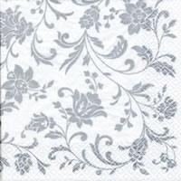 Servietten 24x24 cm - Arabesque White silver-white