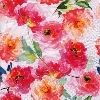 Servietten 25x25 cm - Summer Roses white