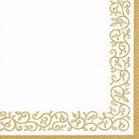 Servietten 25x25 cm - Romantische Bordüre gold-weiß
