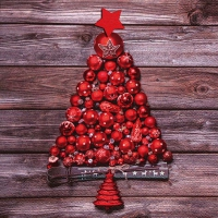 Servietten 33x33 cm - Red Christmas Tree