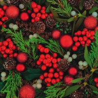 Servietten 33x33 cm - Red Berries & Baubles
