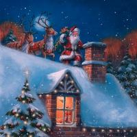 Servietten 33x33 cm - Weihnachtsmann auf dem Dach mit Rentieren