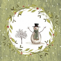 Lunch Servietten Snowman with Tree green