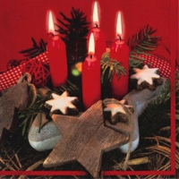 Lunch Servietten Red Advent Scene