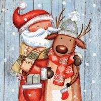 Servietten 33x33 cm - Santa & Reindeer