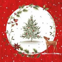 Servietten 33x33 cm - Fawn with Christmas Tree red