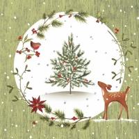 Servietten 33x33 cm - Rehkitz mit Weihnachtsbaum grün