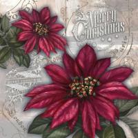 Servietten 33x33 cm - Flores de la Navidad rot