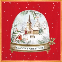 Servietten 33x33 cm - Seasons Greetings in a Snow Globe