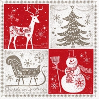 Servietten 33x33 cm - Christmas Greetings red/taupe