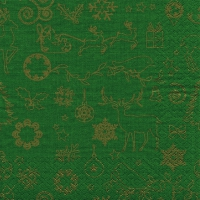 Servietten 33x33 cm - Seasonal Icons gold/green