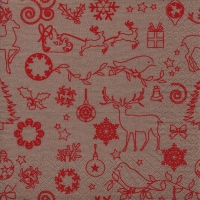 Servietten 33x33 cm - Seasonal Icons beige/red
