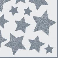 Servietten 33x33 cm - Stelle Lucenti white/silver
