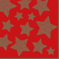 Servietten 33x33 cm - Stelle Lucenti red/gold