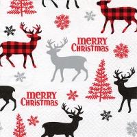 Servietten 33x33 cm - Deers & Trees & Snowflakes red/grey