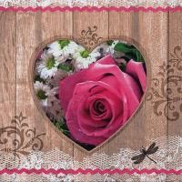 Servietten 33x33 cm - Coeur Rose Rustique pink