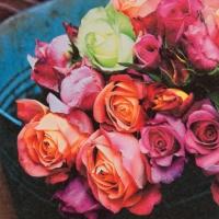 Servietten 33x33 cm - Les Roses sur Marché (Die Rosen auf dem Markt)
