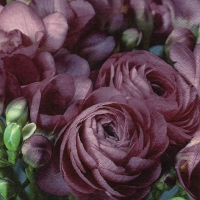 Servietten 33x33 cm - Freesia & Persian Buttercup burgundy