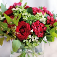 Servietten 33x33 cm - Red Bouquet