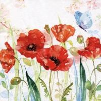 Servietten 33x33 cm - Poppys & Butterfly