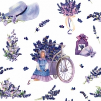 Servietten 33x33 cm - Lavender Bouquets with Tilda Doll