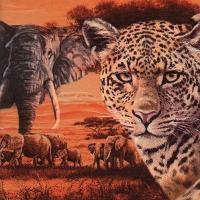 Servietten 33x33 cm - Safari Collage ockerfarben