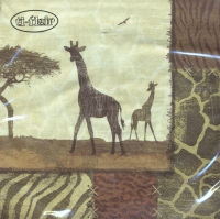 Servietten 33x33 cm - Giraffe Collage
