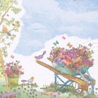 Servietten 33x33 cm - Wheelbarrow filled with Flowers