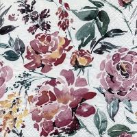 Servietten 33x33 cm - Fleurs Lumineuses burgundy