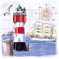 Servietten 33x33 cm - Lighthouse & Compass