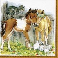 Servietten 33x33 cm - Kitten & Foals in Stable