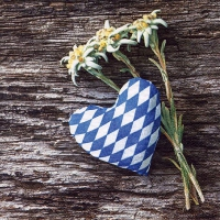 Servietten 33x33 cm - Edelweiss Flowers with Fabric Heart