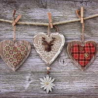 Servietten 33x33 cm - Rustic Hearts with Edelweiss