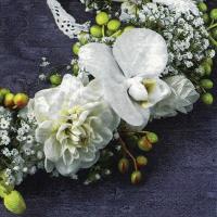 Servietten 33x33 cm - Corona de Flores Blancas