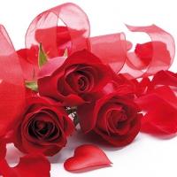 Servietten 33x33 cm - Valentine Roses