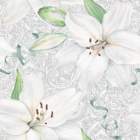 Servietten 33x33 cm - White Lily with Ribbon