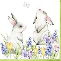 Servietten 33x33 cm - Bunnies in Spring Meadow