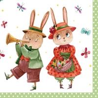 Servietten 33x33 cm - Rabbit Couple with Butterflies