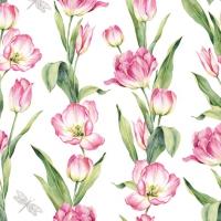 Servietten 33x33 cm - Chaînes de Tulipes pink