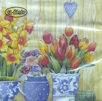 Servietten 33x33 cm - Macetas con Flores Primavera