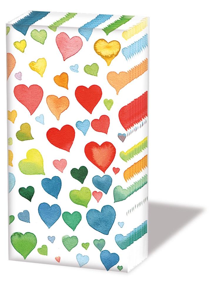 Taschentücher - Farbenfrohe Herzen Mischung