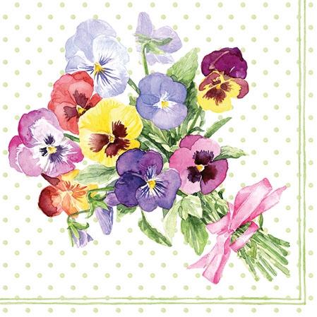 Servietten 25x25 cm - Bunch of Violets Green