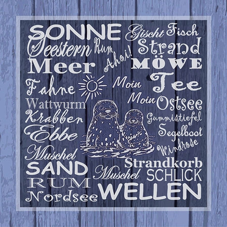 Servietten 25x25 cm - Beach Terms