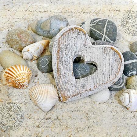 Servietten 25x25 cm - Herzen und Steine