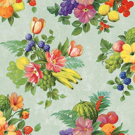 Servietten 25x25 cm - Flowers And Fruits Green