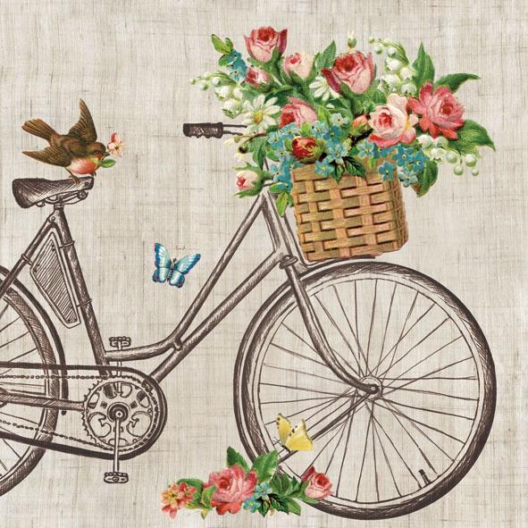 Servietten 33x33 cm - Robin auf dem Fahrrad