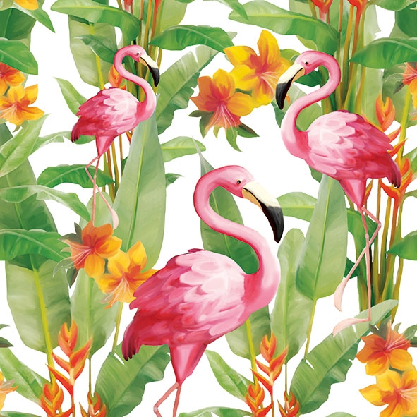 Servietten 33x33 cm - Flamingo´s White