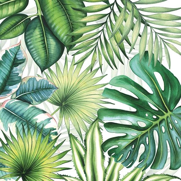 Servietten 33x33 cm - Tropical Leaves White