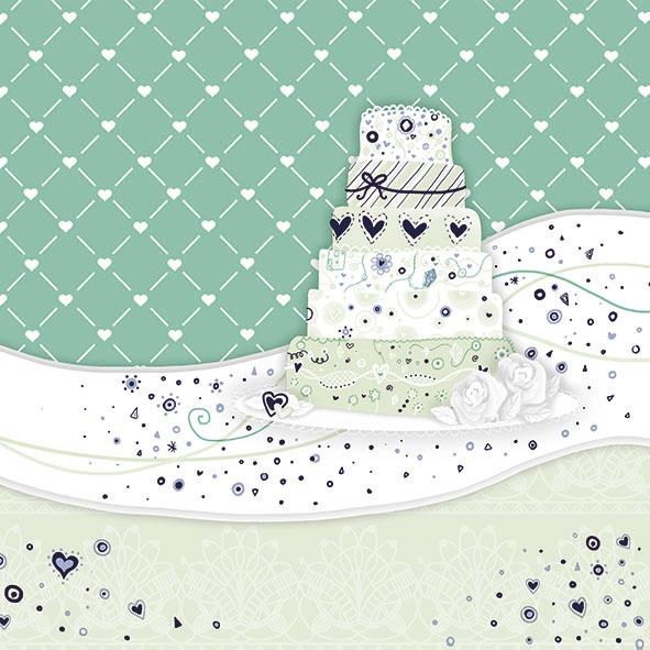 Servietten 33x33 cm - Sweet Cake Green