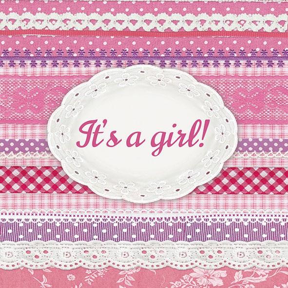 Servietten 33x33 cm - It´s ein Mädchen